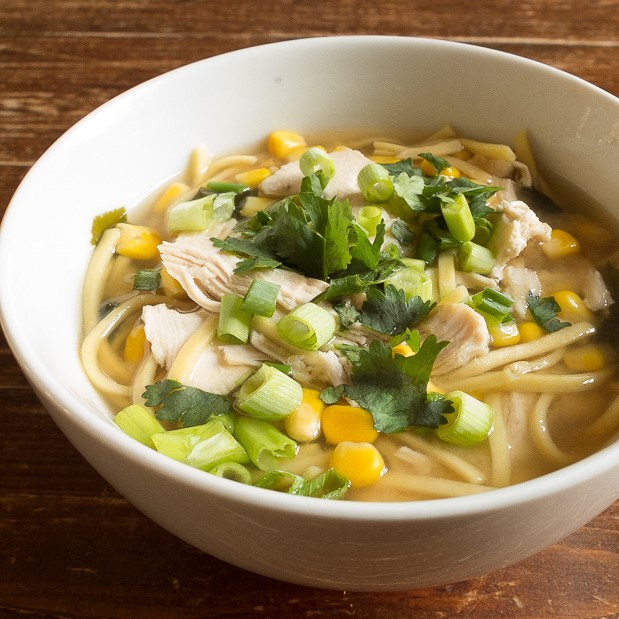 Easy chicken noodle soup recipe with miso, sweetcorn and spring onion