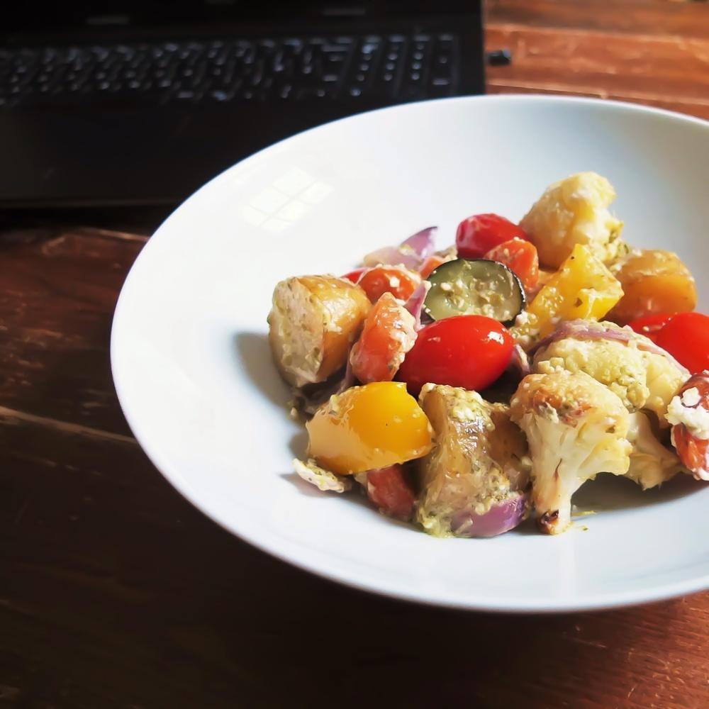 roasted vegetable with feta and pesto recipe