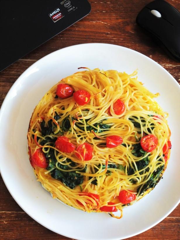 Spaghetti Frittata above