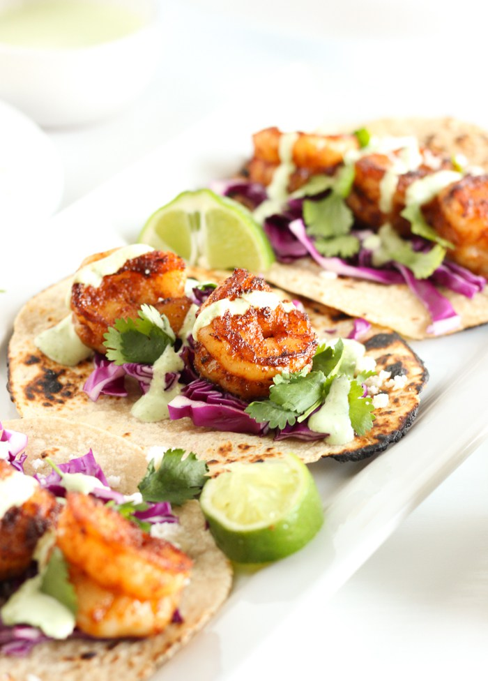 shrip on tacos with lime and coriander