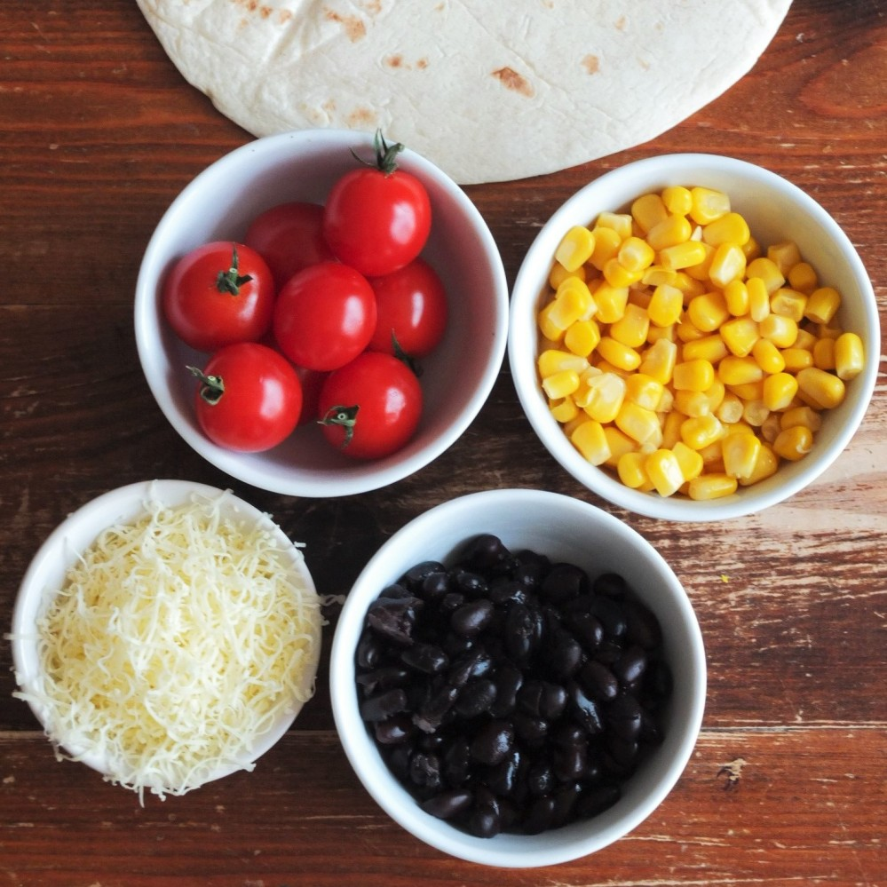 sweetcorn black bean tomato tortilla ingredients
