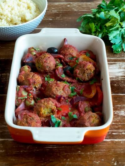 Easy roasted vegetable & falafel bake - vegan recipe
