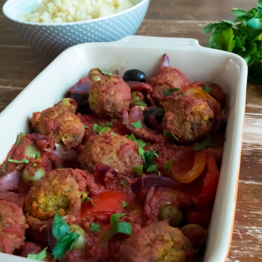 Roasted vegetable and falafel bake