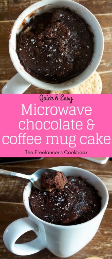 Quick and easy chocolate and coffee microwave mug cake recipe