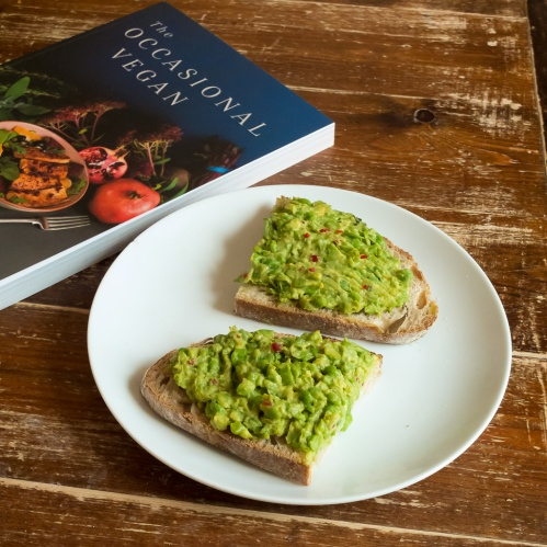 pea and avocado spread on toast, the occasional vegan book