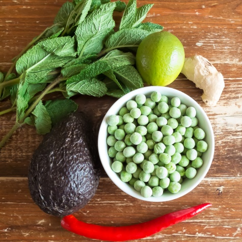 ingredients for pea and avocado spread recipe