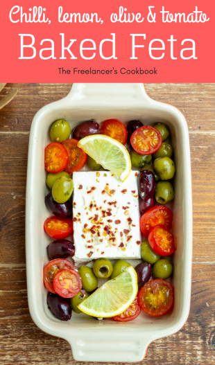 chilli, lemon, olive and tomato baked feta
