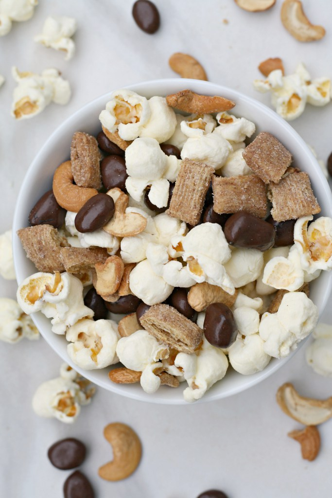 bowl of trail mix with popcorn