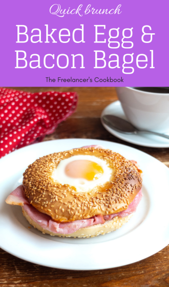 Egg in a hole bagel with bacon